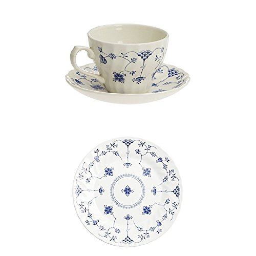Churchill Finlandia - Set de 2 tazas con platillo, 21 cl, color blanco y azul + Churchill Finlandia - Vajilla de 18 piezas, 26,3 x 20,2 x 26,5 cm, color blanco y azul