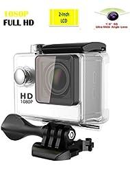Lyhoon 1080P Cámara deportiva HD 2.0'' impermeable Pantalla 30m bajo el agua 120 grados de la lente de deporte Cam DV DVR con varios accesorios para motocicleta de la bici Surf Buceo Natación Esquí etc. (Blanco, 1080P)