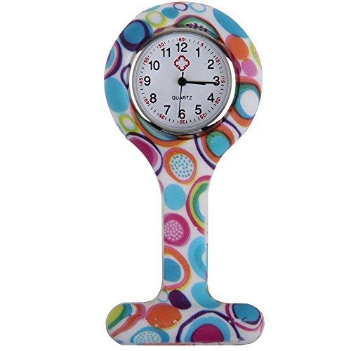 Sanwood, orologio da tasca per infermieri, in silicone, con spilla per essere fissato alla divisa, fantasia stampata Type 1 Taglia unica