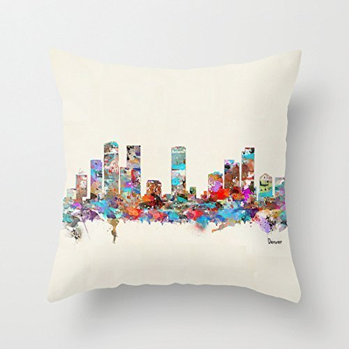 ziHeadwear Denver Colorado Skyline Nursery Throw Pillow Cover for Girls Dorm Room Decor Square Canvas Cushion Cover with Zipper 18 x 18