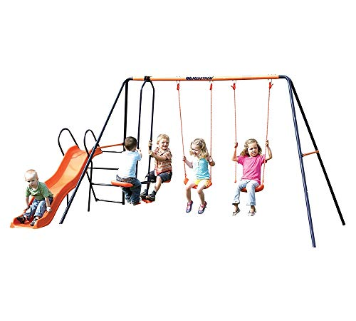 Hedstrom Europa - Double Swing, Glider and Slide Set Blue/Orange Ages 3-10 Years - Single Rope Swing