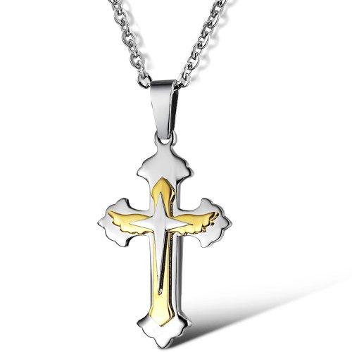 Lily Jewelry con tutti i tipi di forma di croce collana, acciaio inossidabile, colore: Silver/Gold, cod.