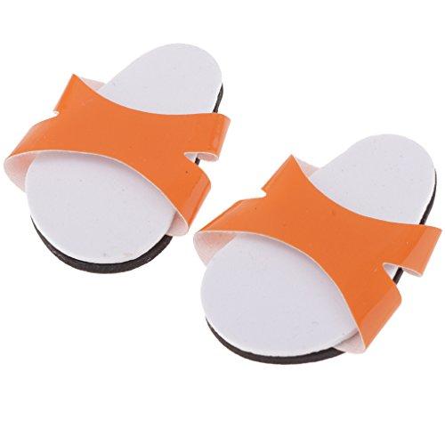 Fenteer Pantofole Di Scarpe Moda Calzini Sandali Scarpette Estive Accessori con Vestiti per Bambola - Arancia