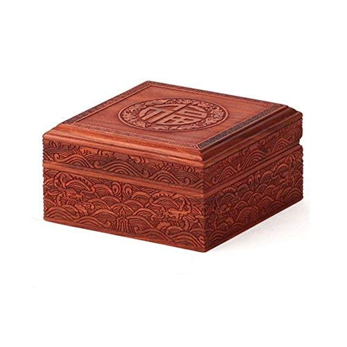 Redwood Box (ZHAS Red Sandelholz Schmuckschatulle Palisander Handwerk Seal Box Redwood Box antike Holzschatulle Schmuckschatulle Jade Box (Größe: 11.5 * 11.5 * 6cm))