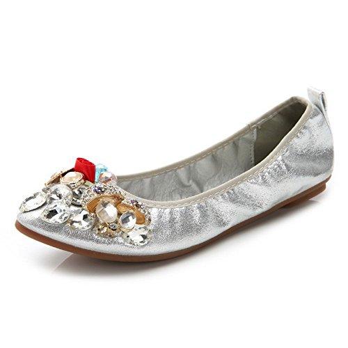 AalarDom Femme Tire Pointu Non Talon Couleur Unie Matière Souple Chaussures à Plat Argent-Paillette