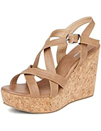 MarcLoire Women Wedge Heels, Girls Fashion Sandals, Open Toe Wedge Sandals, Buckle Type Heels - Synthetic, Tan, Size - 3UK/IND to 8UK/IND
