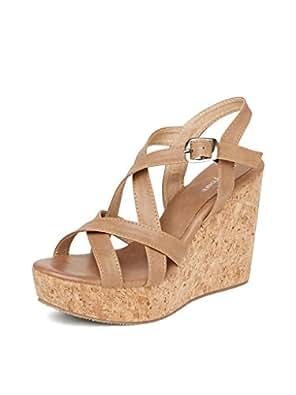 MarcLoire Women Wedge Heels, Girls Fashion Sandals, Open Toe Wedge Sandals, Buckle Type Heels - Synthetic, Tan, Size - Euro36_UK/IND3 ML0010482036