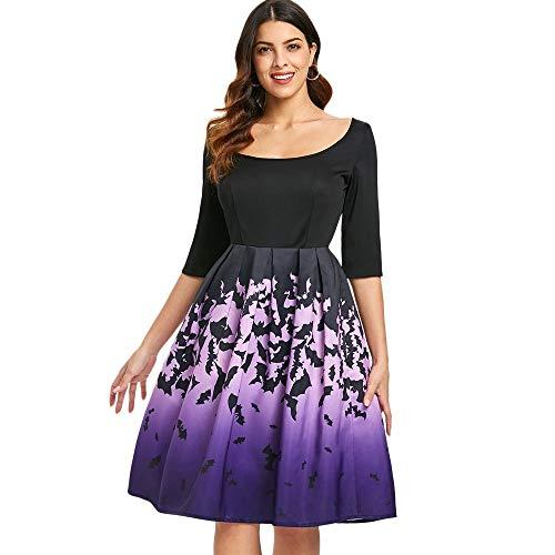 Damenrock Damen Halloween Halbarm drapiert aushöhlen Fledermäuse gedruckt Midi Vintage Kleid Geeignet für alle Gelegenheiten (Color : Schwarz, Size : S)