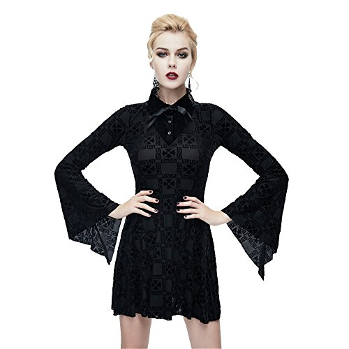 d7bfb52005eb71 Devil Fashion Frauen Punk Strecken Stitching Lange ?rmel Kleid Gothic Knie  L?nge Rock, 3 Gr??en