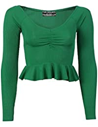 Pilot Women's RuchedFront Ribbed Long Sleeve Frill Hem Crop Top In Emerald Green