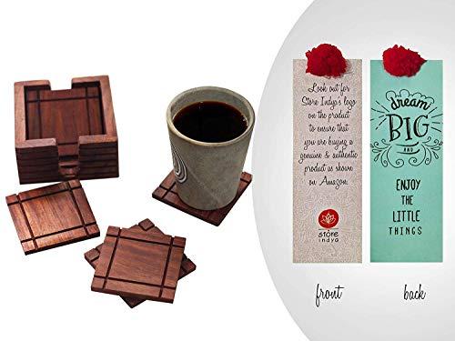 storeindya Geschenke Handgemachte Set von 6 Holz untersetzer für Getränke mit Halter-Speicher-Caddy-Platz Absorbent Tee Kaffeetasse & Tassen Coaster Umweltfreundlich Antik-Design