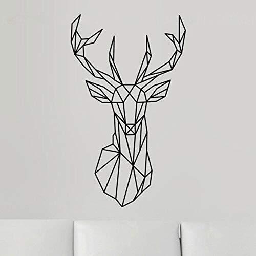 fancjj Geometrische Hirschkopf Wandaufkleber können entfernt Werden Geometrie Tier Serie Aufkleber 3D Vinyl Wandkunst Wohnkultur Wandbild M42X70cm -