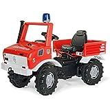 Rolly Toys 036639 Feuerwehr Unimog Farmtrac classic | mit Rundumleuchte Flashlight, Kettenantrieb, Schaltung und Handbremse | für Kinder von 3 – 8 Jahren | Farbe rot | TÜV/GS geprüft