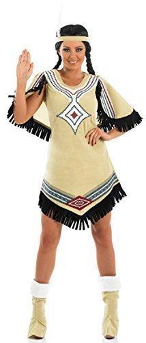 Damen Pocahontas Indianer Squaw Kostüm Kleid Outfit 8-26 Übergröße - Beige, (Pocahontas Outfits)