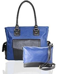 Fargo Cozy PU Leather Women's & Girl's Shoulder Handbag & Couthy Sling Bag Combo Of 2 (Blue,Black_FGO-071)
