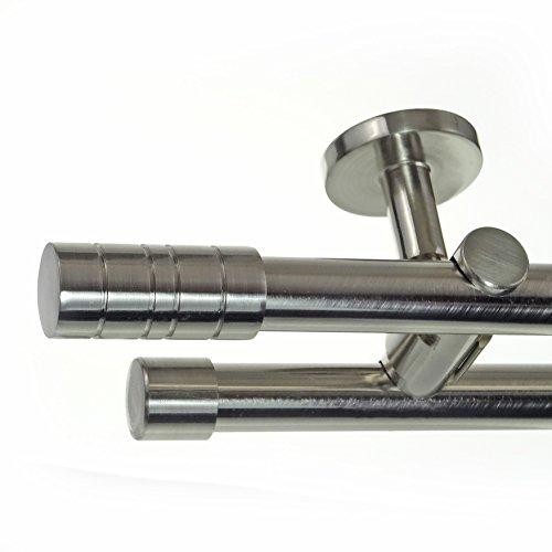 Edelstahl Look Gardinenstange Ø 20mm Deckenträger 2-läufig zweiläufig Deckenbefestigung Zylinder...