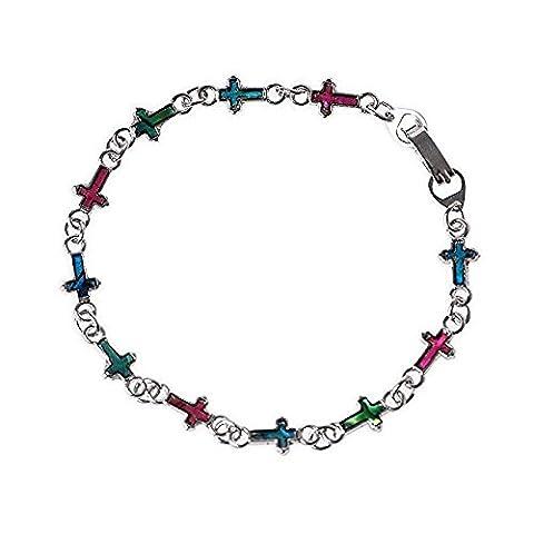 Cross Chain Pendant Bracelet Multi-colored Shell Abalone Inlay - Christian Crucifix
