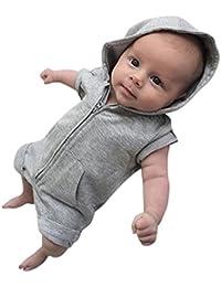 f18056ae4f09fc Culater® 2018 Nuove Neonate Estate Manica Corta Pagliaccetti con Cappuccio  Solidi Set di Vestiti per