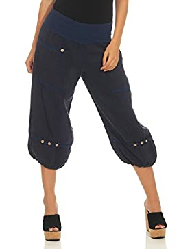 Malito Mujer Pantalones de Lino Pantalones de Ocio Pantalones Bombachos Basic 6830