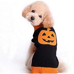 FUPOA Patrón de Calabaza de Halloween Suéter de Perro Suéteres de Punto para Perros Suéter de Cachorro Perro de Mascota de Halloween Chihuahua Teddy Puppy Cat, Naranja, M