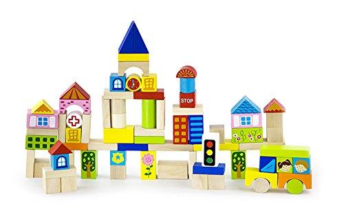 Preisvergleich Produktbild Viga NCT 0806 - Holzbausteine Stadt mit Tonne