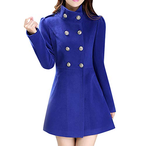 IMJONO Frauen Winter Warm Coat Faux Thick Warm Slim Jacket Outerwear Fashion Overcoat (XX-Large,Blau)