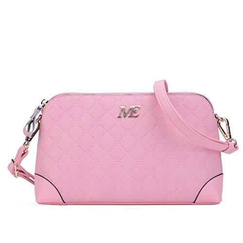 Frauen Handtasche Europäische Und Amerikanische Mode Umhängetasche Umhängetasche Für Damen Leder Shell Tasche Lingge Kleine Tasche (Color : Pink)