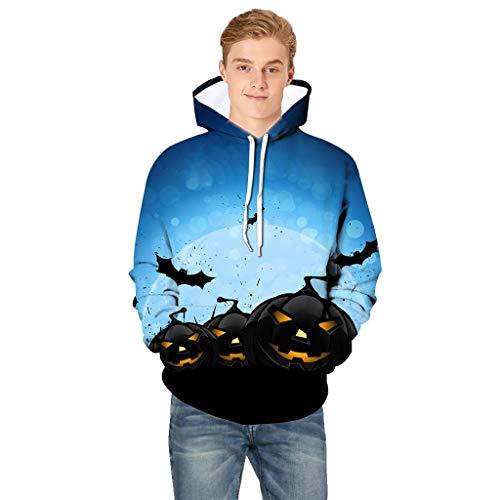 Andouy Herren Horror Halloween Kostüm Komisch 3D Gedruckt Party Kapuze Oberteile Lange Ärmel Kapuzenpullover Sweatshirt(XXL.Blau-1) -