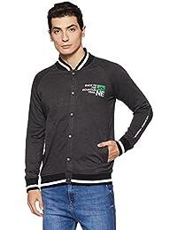 Amazon Brand - Symbol Men's Printed Fleece Buttoned Bomber Jacket