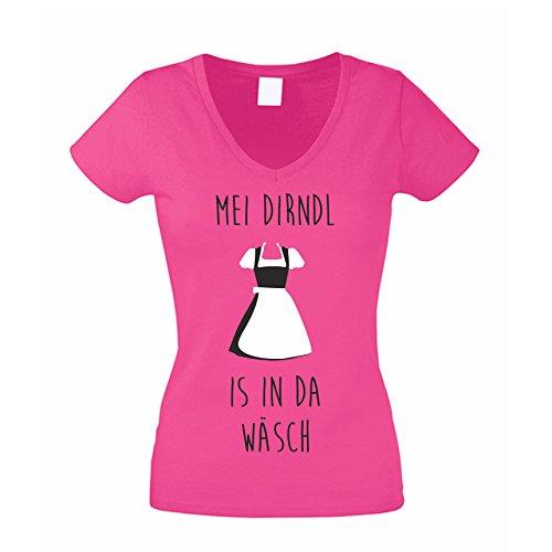 Damen V-NECK T-Shirt Mei Dirndl ist in der Wäsch Oktoberfest, pink, XXL