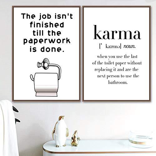 qiumeixia1 Poster Toilettenpapier Karma Nordic Poster Und Drucke Wandkunst Leinwand Malerei Skandinavischen Wandbilder Für Badezimmer Dekor 50 * 70 cm Kein Rahmen