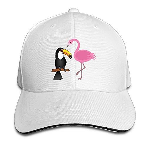 Presock Prämie Unisex Kappe Flamingo and Toucan Adult Adjustable Snapback Hats Peaked Cap