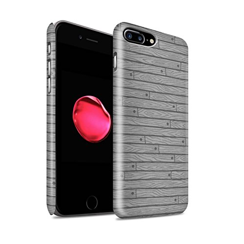 STUFF4 Matte Snap-On Hülle / Case für Apple iPhone 8 Plus / Beige Muster / Holz-Muster Kollektion Grau