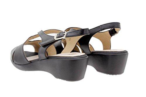 Scarpe donna comfort pelle PieSanto 1553 Sandali Zeppa larghezza speciale Negro