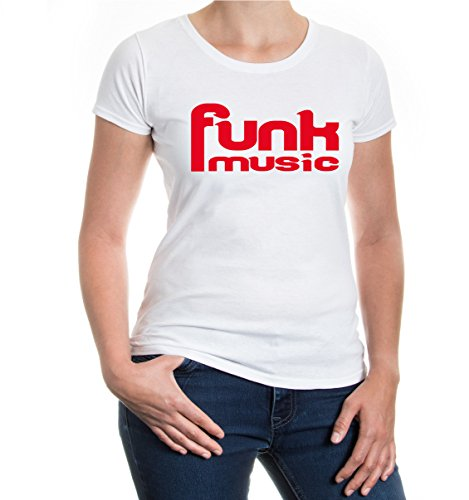 buXsbaum® Girlie T-Shirt Funk Music White-Red