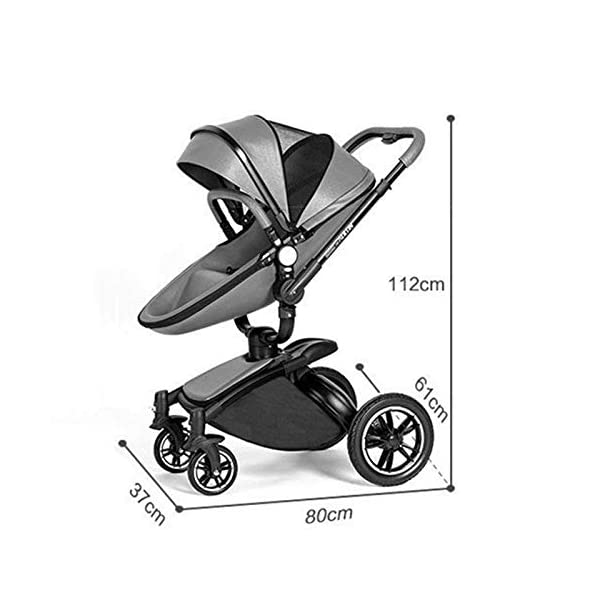 Meen Baby Stroller, High Landscape Leather Two-Way Car 360 Degree Folding Shock Can Sit Lie Baby Car (Color : Brown) Meen * EASY TO FOLD: It can be used in one-button car collection, easy to handle all kinds of occasions, save space, easy to carry, easy and labor-saving * SAFETY SYSTEM: Baby stroller adopts 5-point safety belt, high quality design is safer, and 5-point structure is safer * ADJUSTABLE BACKREST - The stroller backrest can be adjusted at any angle, and the pedal can be adjusted according to the baby's needs, giving the baby a more comfortable experience 3
