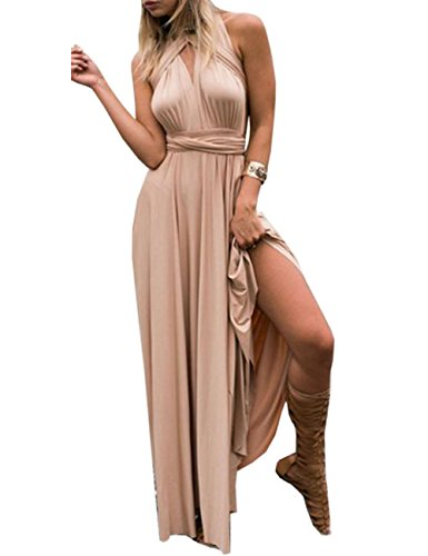 Emma Femme Sexy V-Col Jabot Robe Soirée Convertible Dos Nue Cocktail Robe Longue Bandage Bridesmaid Elegant Dress Skirt Long?CE,L?