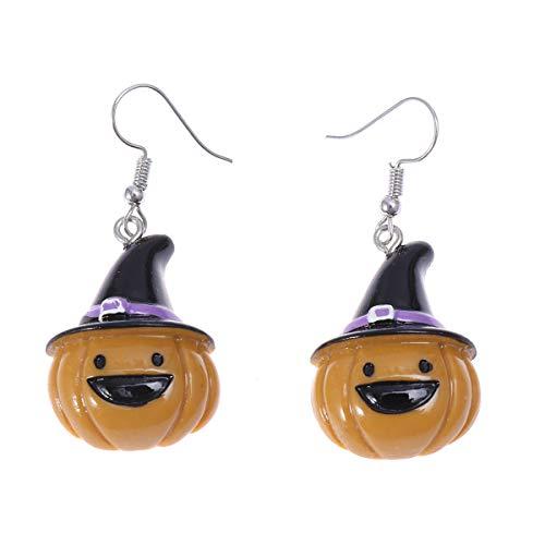 Amosfun 1 para Kinder Halloween Ohrringe Geist Kürbis Ohrringe Lustige Ohrstecker mit Hut Ohrhaken Schmuck für Frauen Mädchen