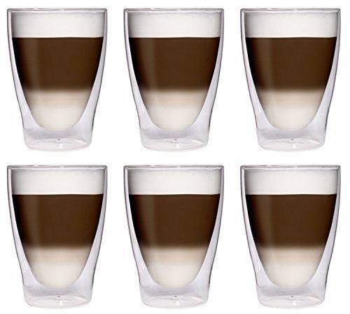 6 x 280ml XL doppelwandige Latte Macchiato-Gläser/Cocktailgläser/Eistee-Gläser/Saft- und...