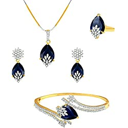 Zeneme Signature Collection American Diamond Combo of Pendant Set / Necklace Set with Earrings, Bracelet and Ring for Girls and Women (Blue)