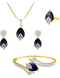 Zeneme Signature Collection American Diamond Combo Of Pendant Set / Necklace Set With Earrings, Bracelet And Ring...