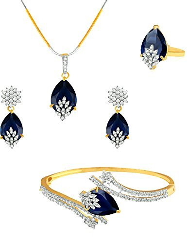 M CREATION American Diamond Combo of Pendant with Earrings, Bracelet and Ring for Women (Blue)