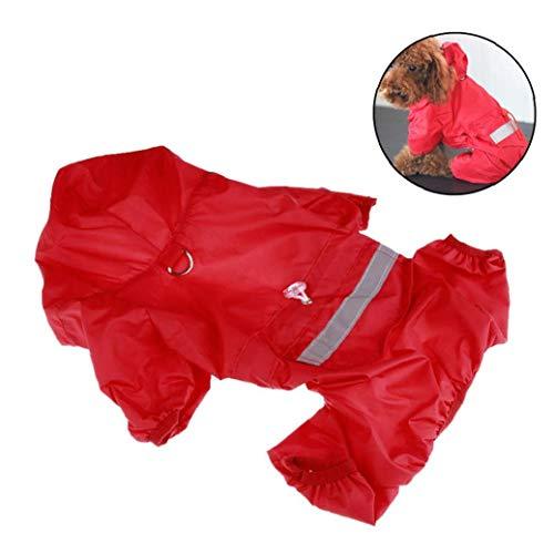 Angoter Haustier-Hunderegenmäntel wasserdichte Kleidung Regenmantel Poncho Welpen Regen Jacke Mit Reflexstreifen (Größe S) -