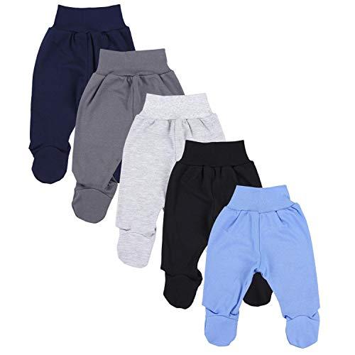 TupTam Unisex Baby Hose mit Fuß Bunte Strampelhose 5er Pack, Farbe: Junge 5, Größe: 80