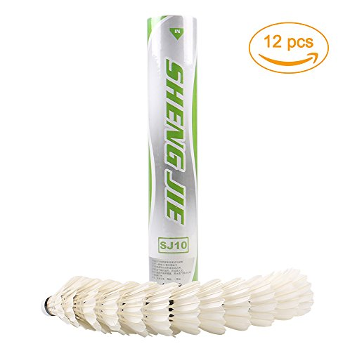 736adb1b26763 SHENGJIE 12-pack Plume d'oie badminton volants avec une grande stabilité et  durabilité, High Speed badminton Birdies Balles Modèle SJ10