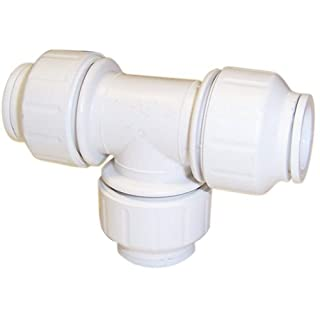 Bulk Hardware BH04123 Pushfit Equal Tee Connector, 15 mm - White, Pack of 1