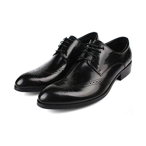 LYZGF Hommes Gentleman Business Casual Mode Ajouré Respirant Extra Taille Lace Up Chaussures En Cuir Black