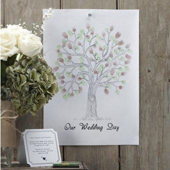 Ginger Ray Vintage Wedding Fingerabdruck-Baum - Leinwand mit Inks & Anleitungen - Alternative Gästebuch