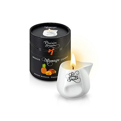 Vela Masaje Erótico Comestible y Afrodisíaca con Aroma Piña y Mango 80 ml. en Recipiente de Cerámica - Plaisirs Secrets Paris