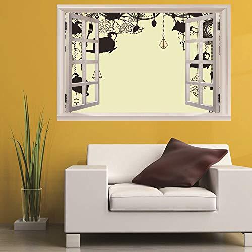 Leoljc Teekanne 3D Gefälschte Fenster Landschaft Wandaufkleber Schlafzimmer Kinderzimmer Büro Diy Abnehmbare (50X70 Cm)